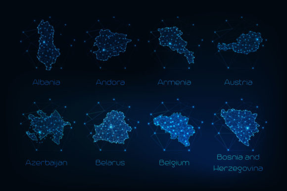 Download Free Europe Countries Futuristic Maps Graphic By Inkoly Art for Cricut Explore, Silhouette and other cutting machines.