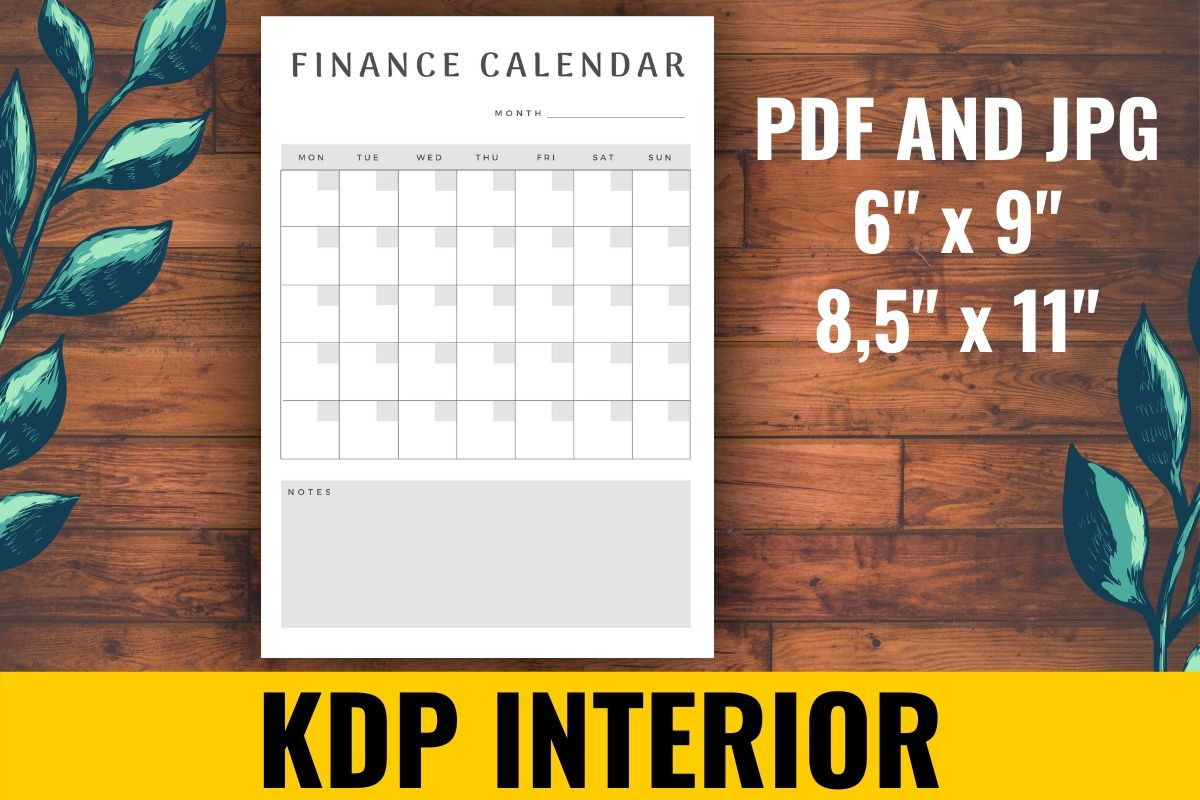 Download Free Finance Calendar Kdp Interior Graphic By Atlasart Creative Fabrica for Cricut Explore, Silhouette and other cutting machines.