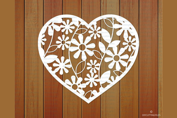 Print on Demand: Floral Heart Frame Paper Cut Template Graphic Crafts By DIYCUTTINGFILES