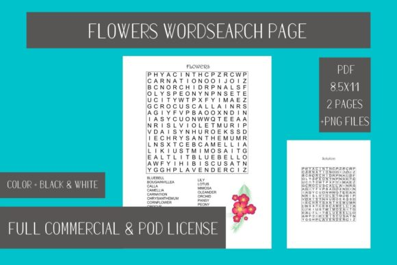 Print on Demand: Flowers Wordsearch Printable Page Graphic Teaching Materials By Fleur de Tango