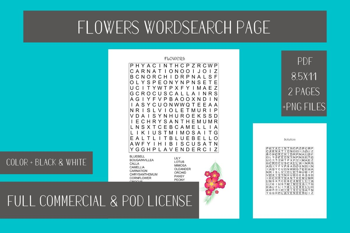 Download Free Flowers Wordsearch Printable Page Graphic By Fleur De Tango Creative Fabrica for Cricut Explore, Silhouette and other cutting machines.