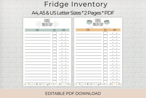 Print on Demand: Fridge Inventory Printable, Editable Graphic Print Templates By The Little Crafty Shop