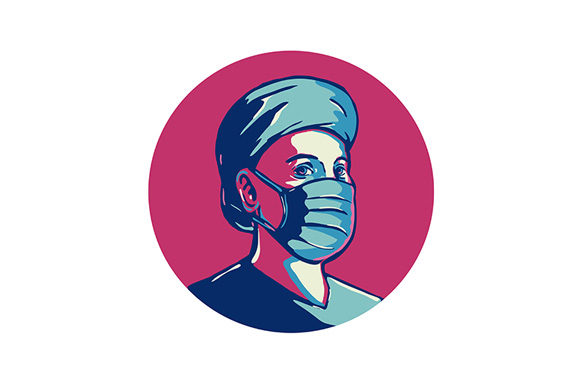 Front Line Worker Wearing Mask And Cap Graphic By Patrimonio