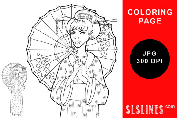 Print on Demand: Geisha Girl with Umbrella Coloring Page Graphic Coloring Pages & Books Adults By SLS Lines
