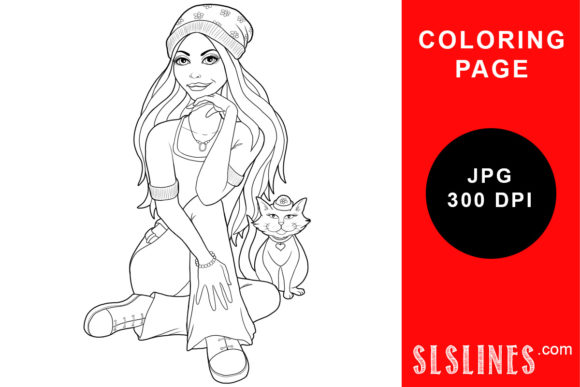Download Free Girl With A Beanie And Cat Coloring Graphic By Sls Lines for Cricut Explore, Silhouette and other cutting machines.