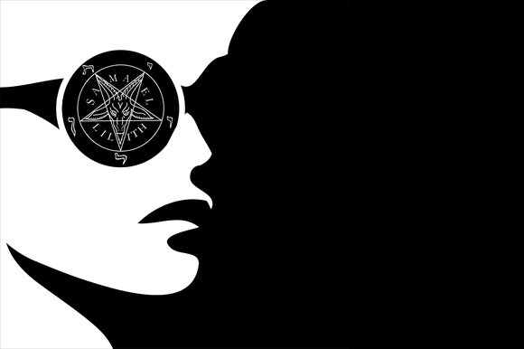 Girl with Wiccan Symbol Graphic Illustrations By shawlin