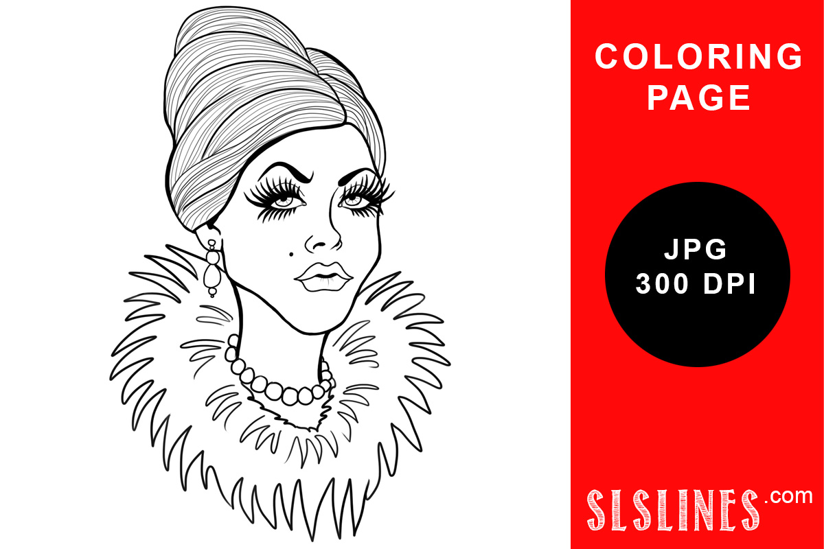 Download Free Gladiator Mascara Lady Coloring Page Graphic By Sls Lines for Cricut Explore, Silhouette and other cutting machines.