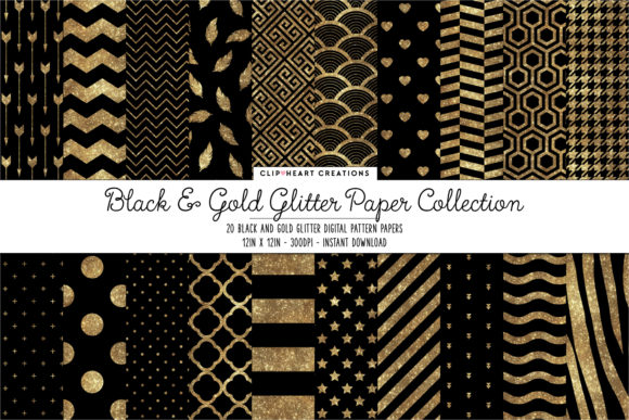 Gold & Black Glitter Papers Graphic Backgrounds By clipheartcreations