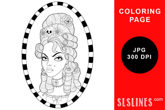 Print on Demand: Goth Style Marie Antoinette Coloring Graphic Coloring Pages & Books Adults By SLS Lines