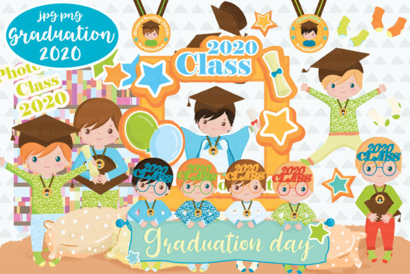 Graduation Boys 2020 Clipart Graphic Illustrations By CuteLittleClipart