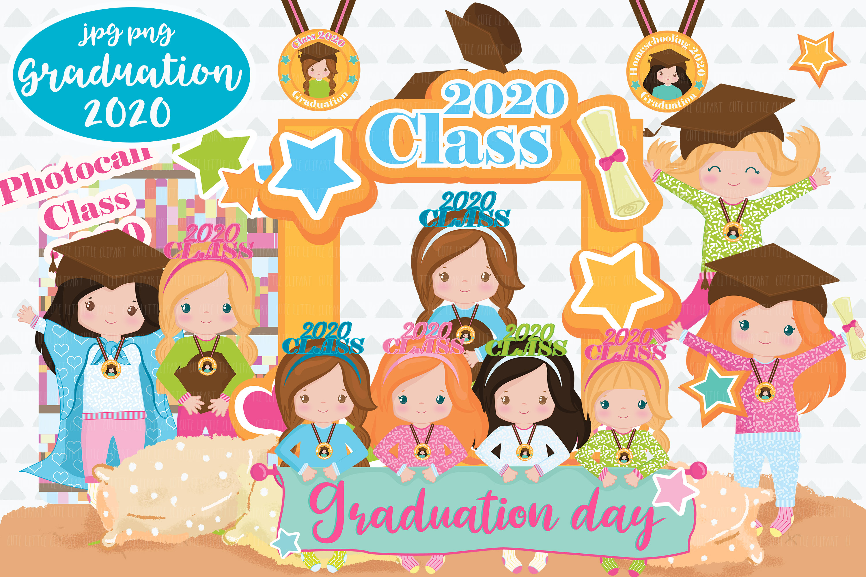 Download Free Graduation Girls 2020 Clipart Graphic By Cutelittleclipart for Cricut Explore, Silhouette and other cutting machines.