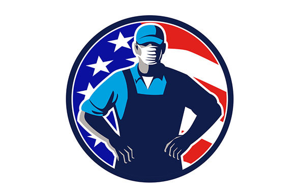 Grocery Worker Wearing Mask Usa Flag Graphic By Patrimonio
