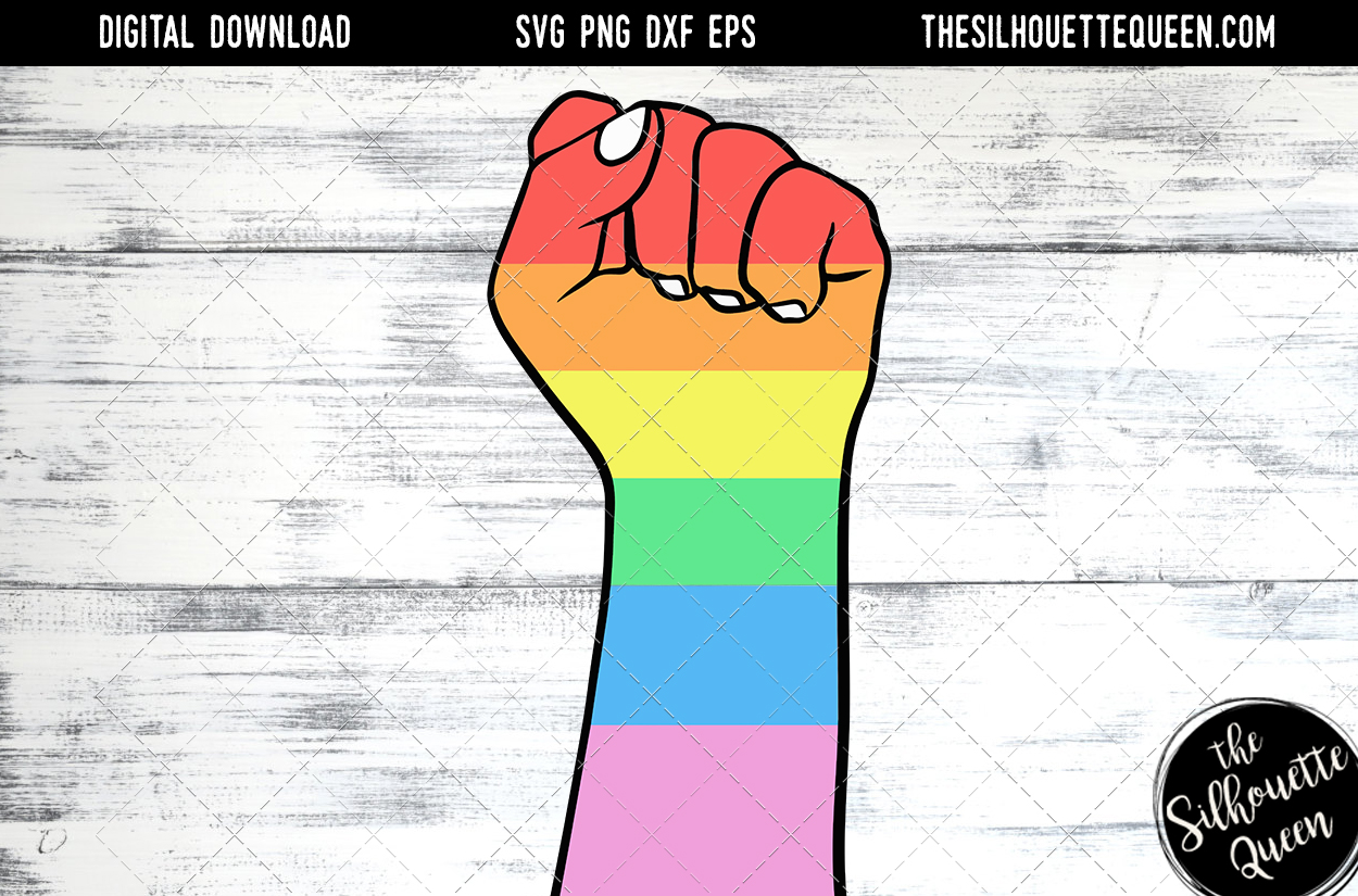 Download Free Hand Sketched Closed Fist In Rainbow Graphic By for Cricut Explore, Silhouette and other cutting machines.