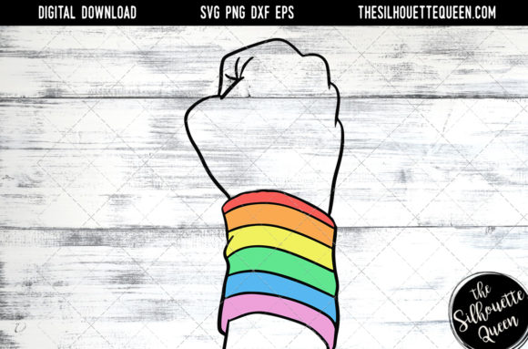 Download Hand Sketched Closed Fist with Rainbow