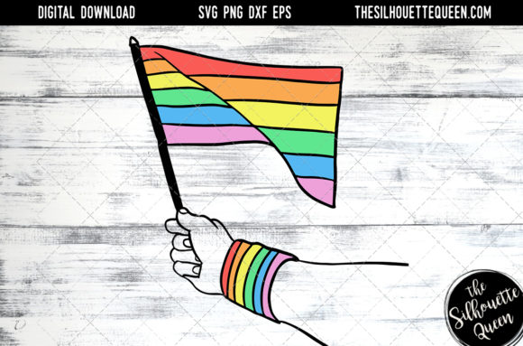 Download Hand Sketched Hand Holding Rainbow Flag