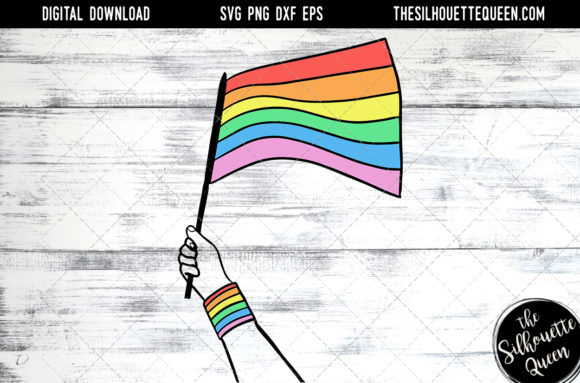 Hand Sketched Hand Holding Rainbow Flag Graphic By