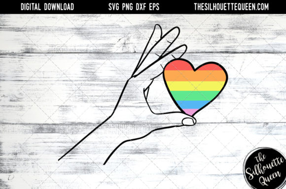 Download Hand Sketched Hand Holding Rainbow Heart