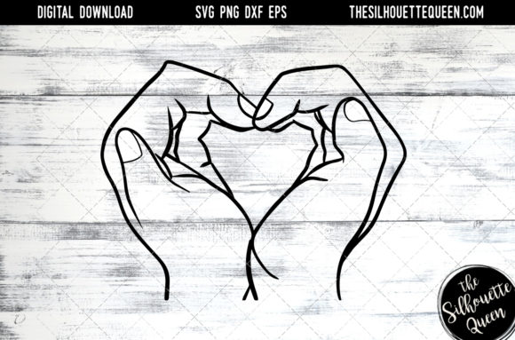 Download Free Hand Sketched Hands Making A Heart Graphic By for Cricut Explore, Silhouette and other cutting machines.
