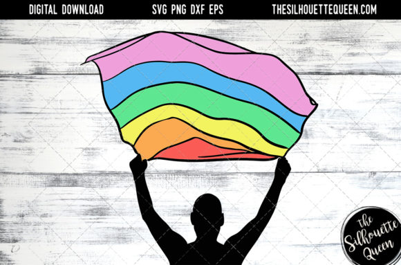 Download Free Hand Sketched Man Holding Rainbow Flag Graphic By for Cricut Explore, Silhouette and other cutting machines.