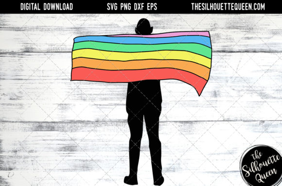 Download Free Hand Sketched Man Holding Rainbow Flag Graphic By SVG Cut Files