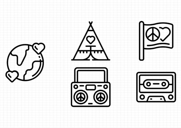 Download Free Hippie Era Graphic By Gantengagif7 Creative Fabrica for Cricut Explore, Silhouette and other cutting machines.