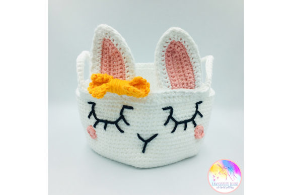 Download Free Kawaii Easter Bunny Basket Graphic By Kawaiigurumi Designs for Cricut Explore, Silhouette and other cutting machines.