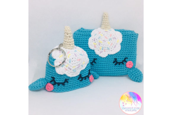 Download Free Kawaii Narwhal Purse And Keyring Set Graphic By Kawaiigurumi for Cricut Explore, Silhouette and other cutting machines.
