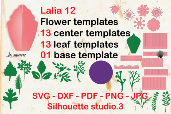 Download Free Lalia 12 Paper Flower Rose Templates Graphic By Lasquare Info for Cricut Explore, Silhouette and other cutting machines.