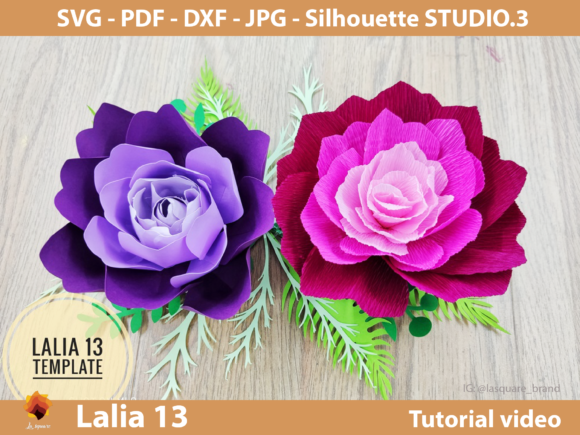 Download Free Lalia 13 Paper Roses Paper Flower Graphic By Lasquare Info for Cricut Explore, Silhouette and other cutting machines.