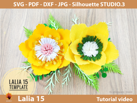 Download Free Lalia 18 Paper Flowers Templates In Set Graphic By Lasquare Info for Cricut Explore, Silhouette and other cutting machines.