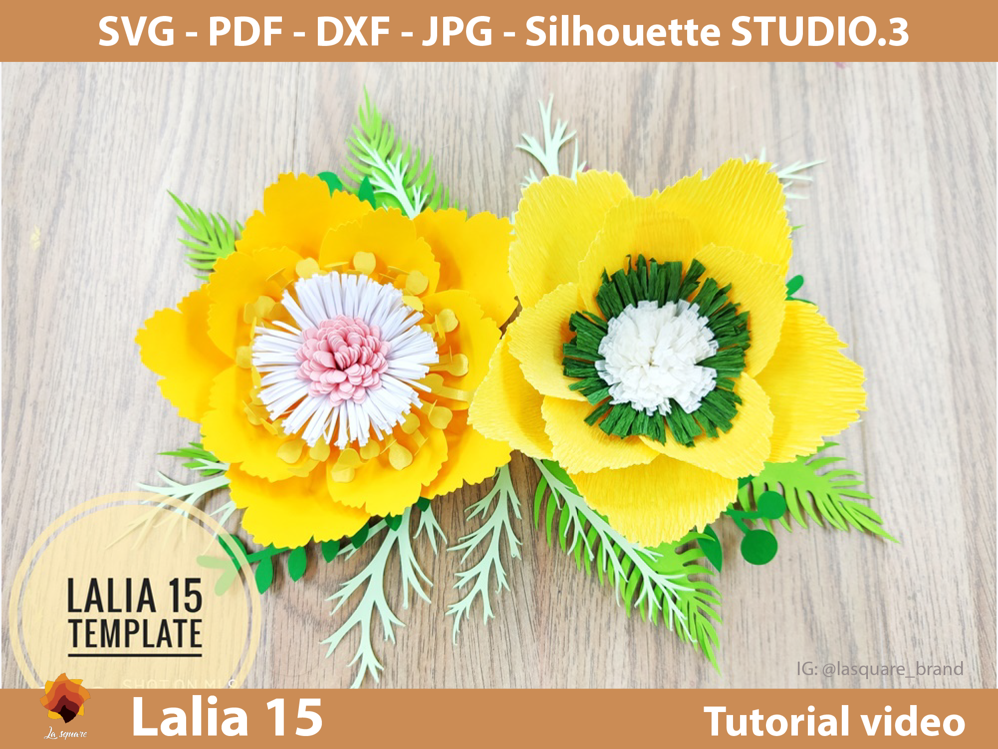 Download Free Lalia 15 Giant Paper Flowers Template Graphic By Lasquare Info for Cricut Explore, Silhouette and other cutting machines.