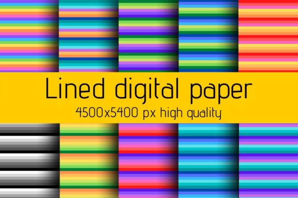 Print on Demand: Lined Pattern Digital Paper Texture Graphic Backgrounds By atlasart