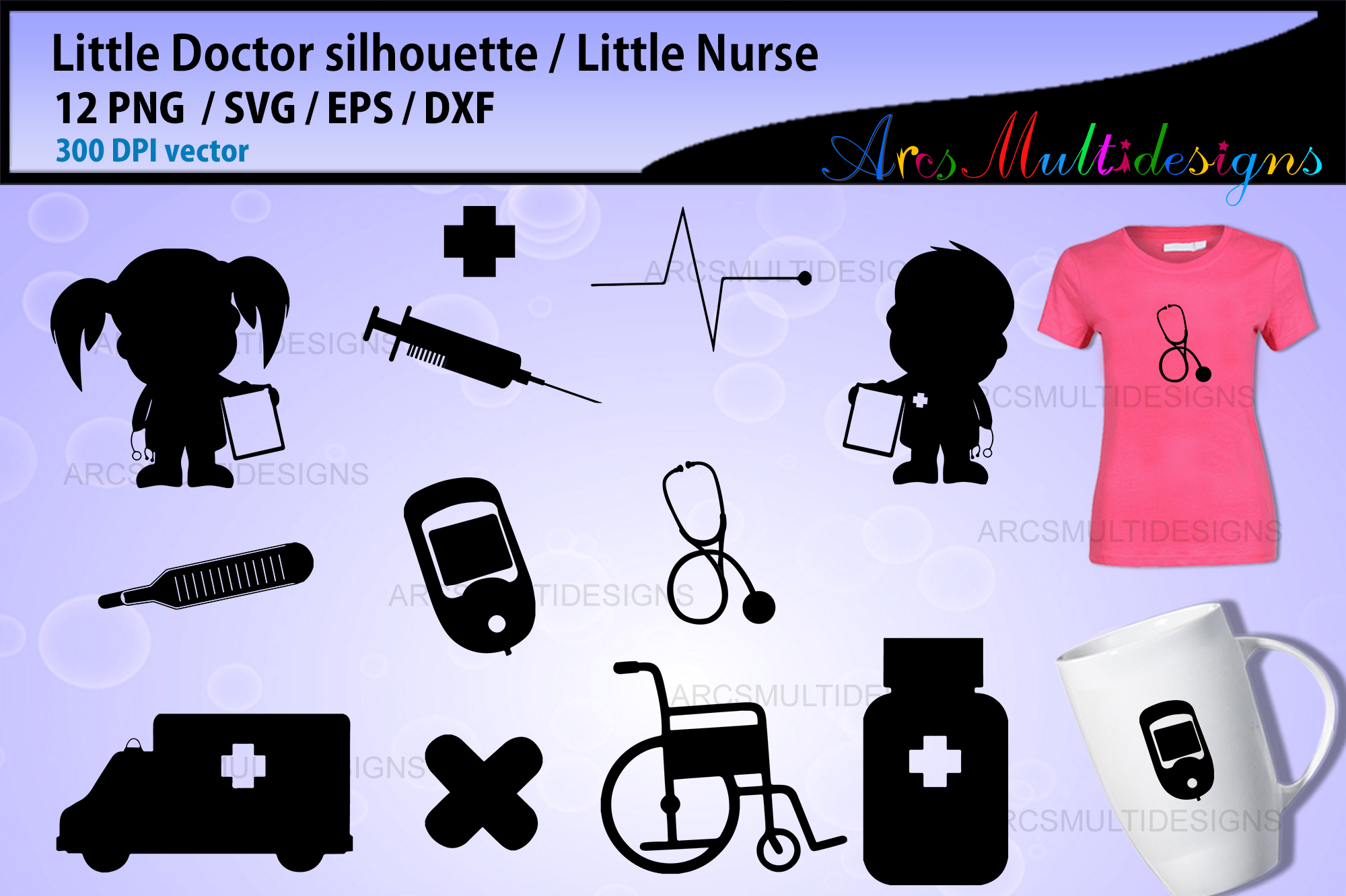 Download Free Little Nurse And Doctor Elements Graphic By Arcs Multidesigns for Cricut Explore, Silhouette and other cutting machines.