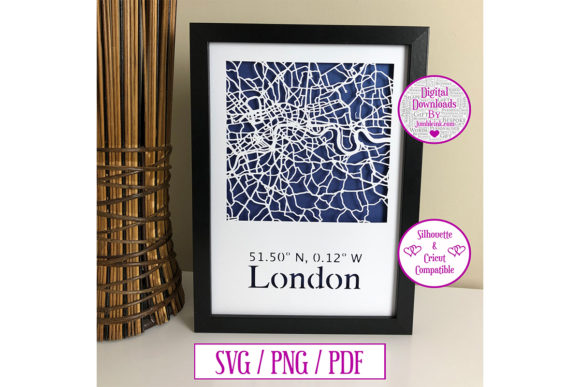 Download Free London Map Paper Cut Digital Download Graphic By Jumbleink for Cricut Explore, Silhouette and other cutting machines.