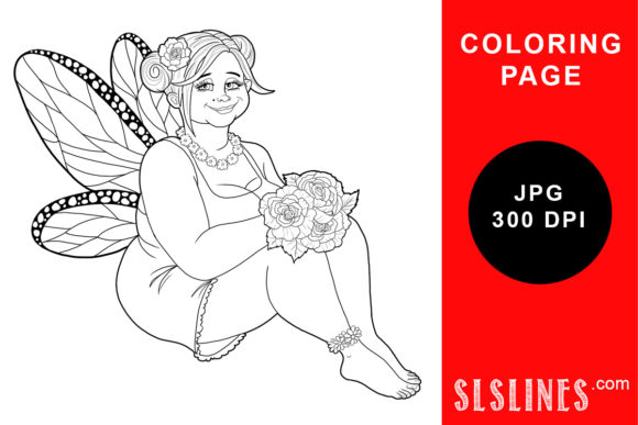 Print on Demand: Lovely Round Fairy Coloring Page Graphic Coloring Pages & Books Adults By SLS Lines