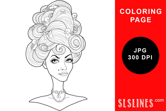 Print on Demand: Marie Antoinette Bird & Bows Hair Graphic Coloring Pages & Books Adults By SLS Lines