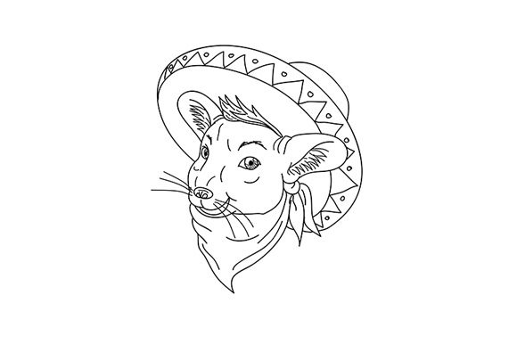 Download Free Mexican Chinchilla Wearing Sombrero Graphic By Patrimonio for Cricut Explore, Silhouette and other cutting machines.