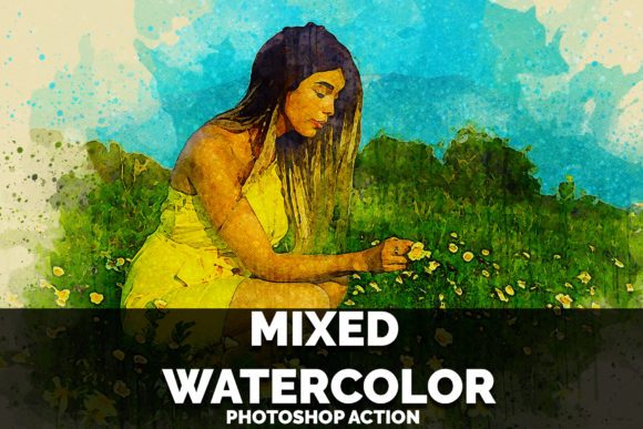 Mixed Watercolor Photoshop Action Graphic Actions & Presets By jubair_haider