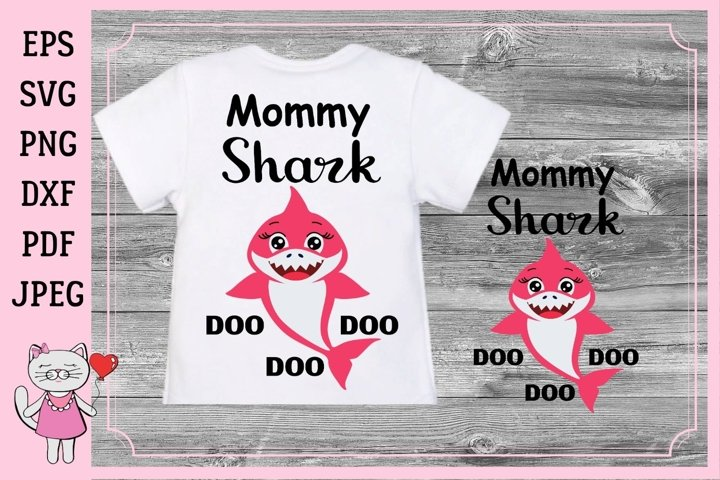 Download Free Mommy Shark Files Mommy Graphic By Magic World Of Design for Cricut Explore, Silhouette and other cutting machines.