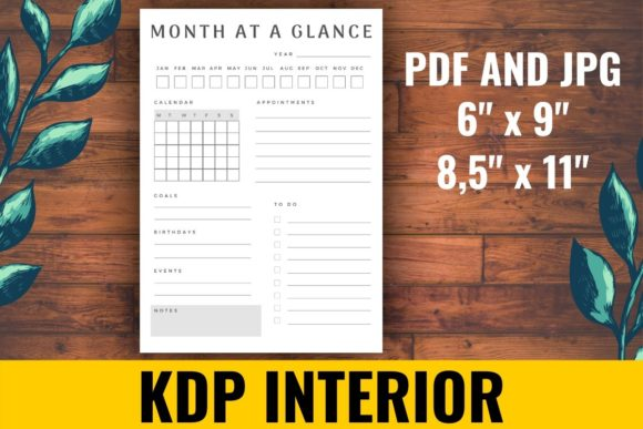 Print on Demand: Month at a Glance KDP Interior Graphic KDP Interiors By atlasart
