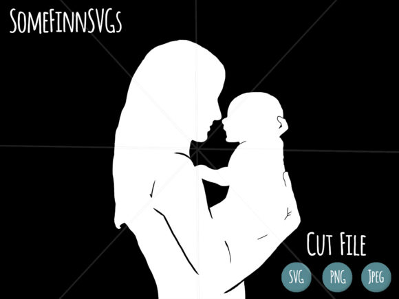Download Free Motherhood Mom And Baby Cut File Graphic By Somefinnsvgs for Cricut Explore, Silhouette and other cutting machines.