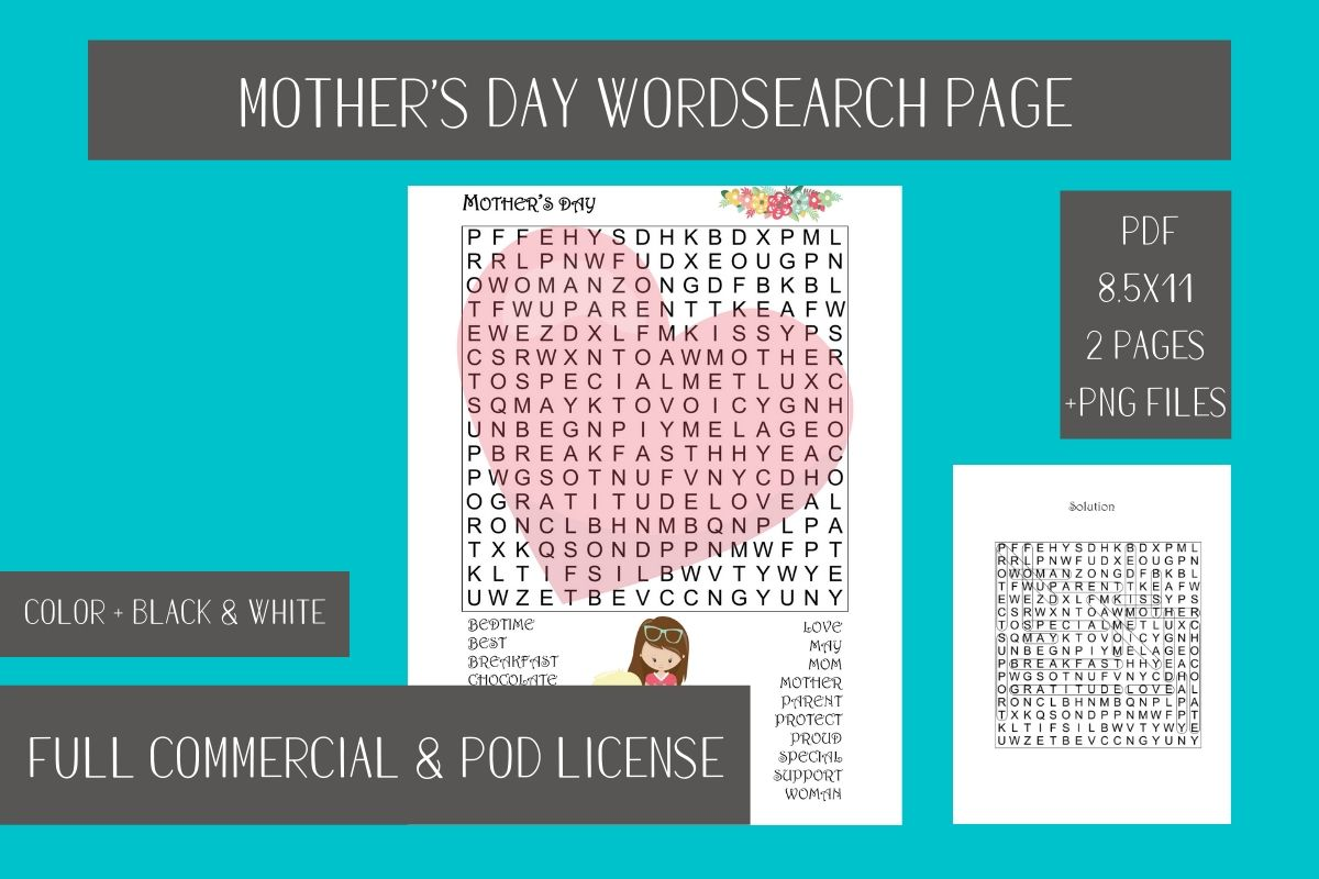 Download Free Mother S Day Wordsearch Printable Page Graphic By Fleur De Tango for Cricut Explore, Silhouette and other cutting machines.