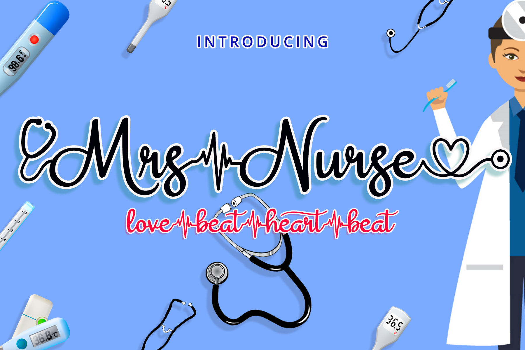 Download Free Mrs Nurse Font By Airotype Creative Fabrica for Cricut Explore, Silhouette and other cutting machines.