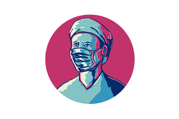 Download Free Nurse Wearing Mask And Cap Circle Wpa Graphic By Patrimonio for Cricut Explore, Silhouette and other cutting machines.