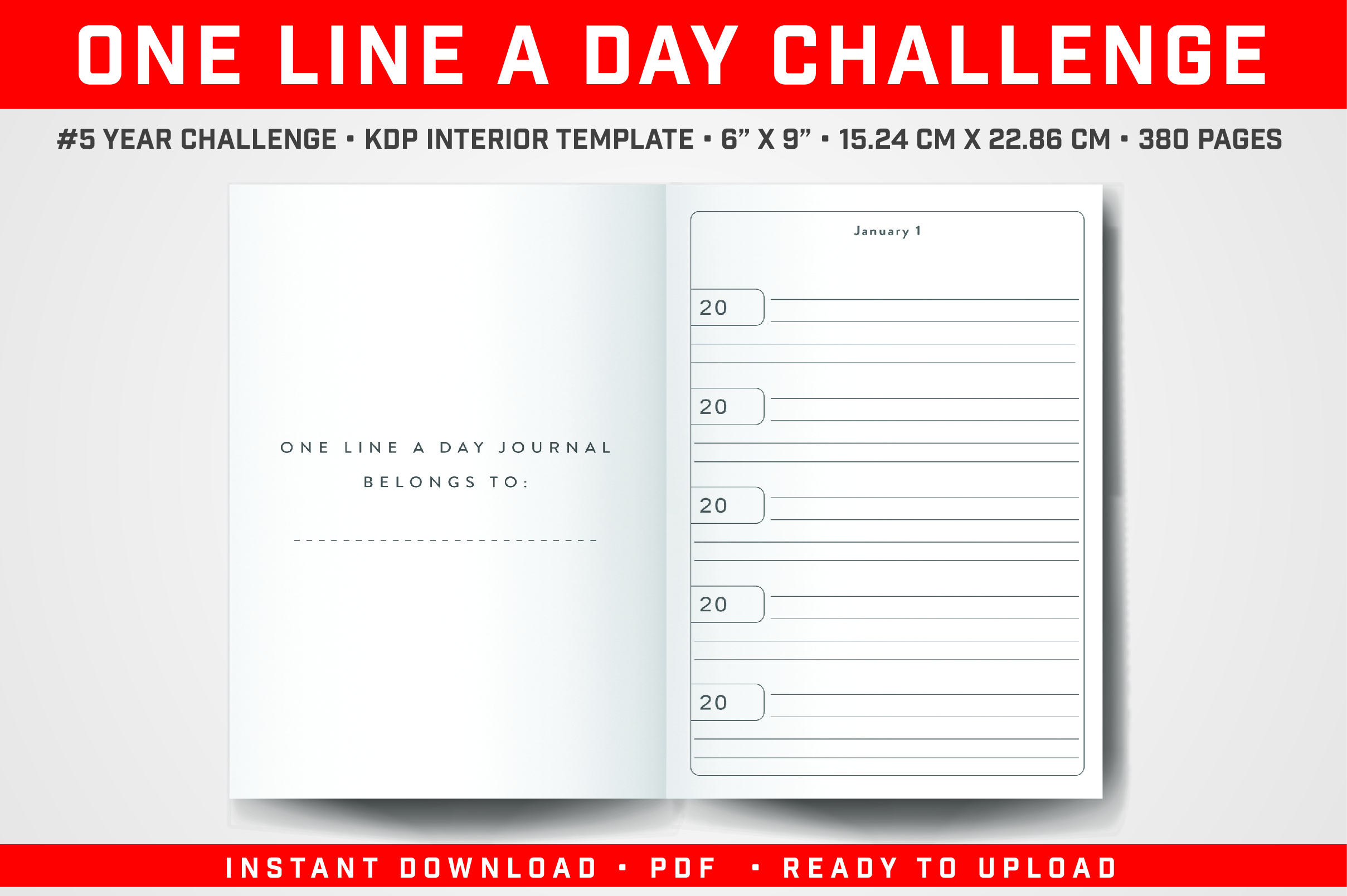 Download Free One Line A Day 5 Years Challenge Graphic By Balajikonline for Cricut Explore, Silhouette and other cutting machines.