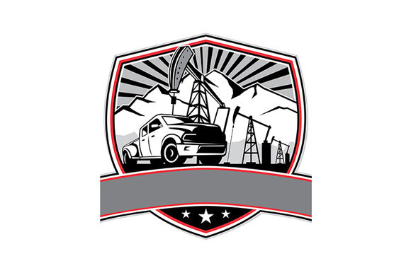 Download Free Pick Up Truck And Oil Derrick Shield Graphic By Patrimonio for Cricut Explore, Silhouette and other cutting machines.
