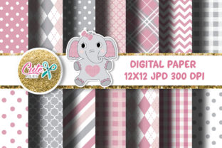 Pink and Gray Digital Paper Graphic Textures By Cute files