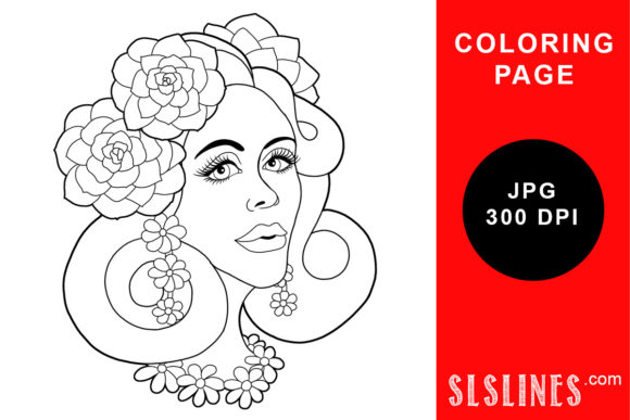 Print on Demand: Pretty Flower Lady Coloring Page Graphic Coloring Pages & Books Adults By SLS Lines - Image 1