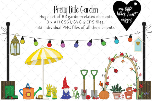 Download Free Pretty Little Garden Set Of 83 Elements Graphic By My Little for Cricut Explore, Silhouette and other cutting machines.
