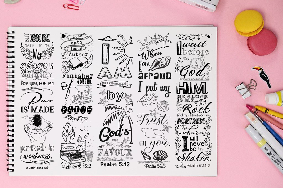 Download Free Printable Colouring Bookmarks Set 5 Graphic By Words Count SVG Cut Files